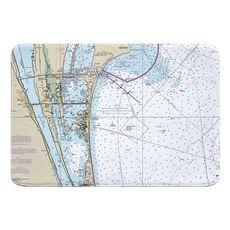 Cocoa, Merritt Island, Canaveral, FL Nautical Chart Memory Foam Bath Mat