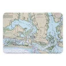 Morehead City, Beaufort, NC Nautical Chart Memory Foam Bath Mat