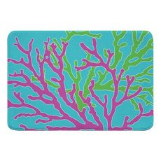 Coral Duo Pink and Green on Blue Memory Foam Bath Mat