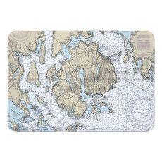 Mount Desert Island, Bar Harbor, Cranberry Islands, ME Nautical Chart Memory Foam Bath Mat