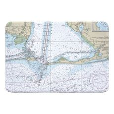 Dauphin Island, Fort Morgan, Pine Beach, Gulf Shores, AL Nautical Chart Memory Foam Bath Mat