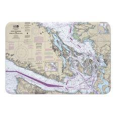 Strait of Georgia, Strait of Juan De Fuca, WA Nautical Chart Memory Foam Bath Mat