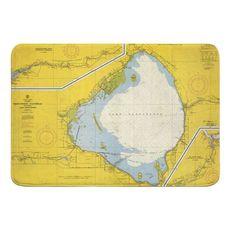 Lake Okeechobee, FL C. 1958 Vintage Chart Memory Foam Bath Mat