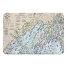 Casco Bay, ME Nautical Chart Memory Foam Bath Mat