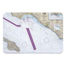 San Pedro Channel, CA Nautical Chart Memory Foam Bath Mat