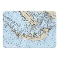 Sanibel Island, FL (close up) Nautical Chart Memory Foam Bath Mat