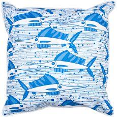 Sailfish School Blue Pillow