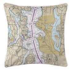 Seattle, WA (Close-Up) Nautical Chart Pillow
