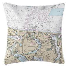 Manasquan, Point Pleasant, NJ Nautical Chart Pillow