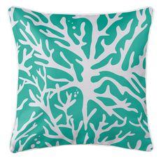 Sea Coral Coastal Pillow - Aqua