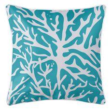Sea Coral Coastal Pillow - Light Turquoise