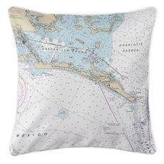 Gasparilla Island, FL Nautical Chart Pillow