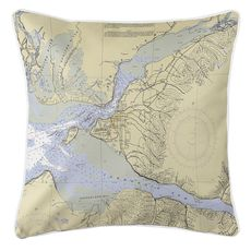 Anchorage, AK Nautical Chart Pillow