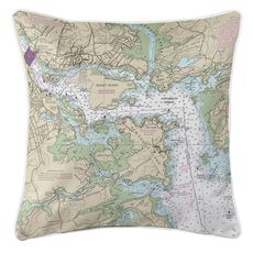 Portsmouth Harbor, NH Nautical Chart Pillow