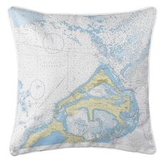 Eastern and Western Approaches to The Narrows, Bermuda Nautical Chart Pillow