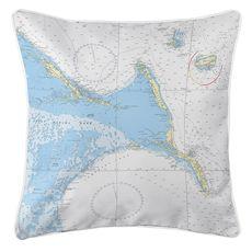 Exuma Islands, Long Island, Rum Cay, Bahamas Nautical Chart Pillow