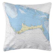 Grand Bahama Island, Bahamas Nautical Chart Pillow