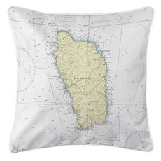 Dominica, West Indies Nautical Chart Pillow