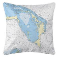 Great Abaco Island, Bahamas Nautical Chart Pillow