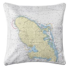Martinique, West Indies Nautical Chart Pillow