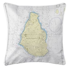 Montserrat, West Indies Nautical Chart Pillow