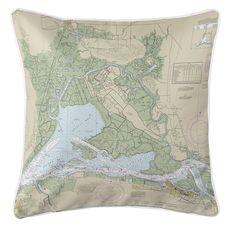 Suisun Bay, CA Nautical Chart Pillow
