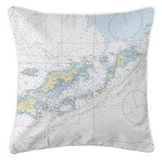 Tortola, Virgin Gorda, BVI Nautical Chart Pillow
