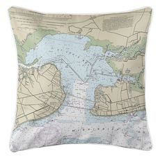 Bay St. Louis, Pass Christian, MS Nautical Chart Pillow