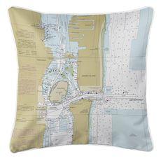 Singer Island, Peanut Island, Lake Worth Inlet, FL Nautical Chart Pillow