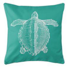 Vintage Sea Turtle Pillow - White On Aqua