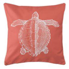 Vintage Sea Turtle Pillow - White On Coral