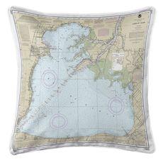 Lake St Clair, MI Nautical Chart Pillow