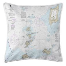 Islands in Lake Erie Nautical Chart Pillow