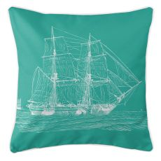 Vintage Ship Pillow - White On Aqua