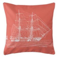 Vintage Ship Pillow - White On Coral