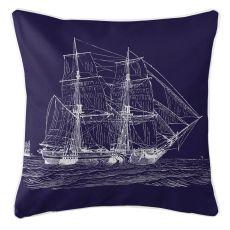 Vintage Ship Pillow - White On Navy