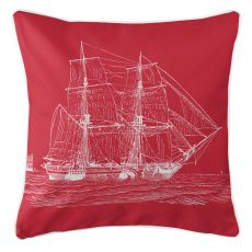 Vintage Ship Pillow - White On Red