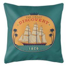 Vintage Ship 1878 Coastal Pillow