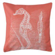 Vintage Seahorse Pillow - White On Coral