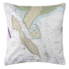 Lummi Island, WA Nautical Chart Pillow