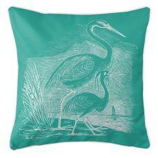 Vintage Egrets Pillow - White On Aqua