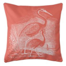 Vintage Egrets Pillow - White On Coral