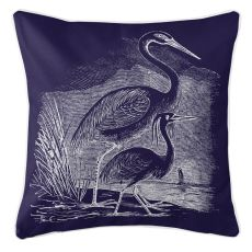 Vintage Egrets Pillow - White On Navy