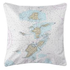 Bass Islands, OH Nautical Chart Pillow