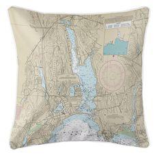 Niantic, CT Nautical Chart Pillow