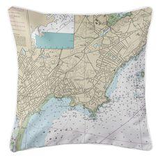Swampscott, MA Nautical Chart Pillow
