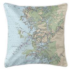 Homosassa, FL Nautical Chart Pillow