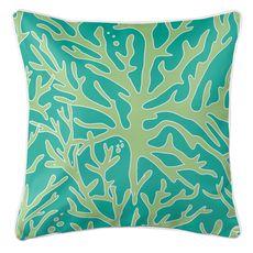 Sea Coral Coastal Pillow - Light Green, Aqua
