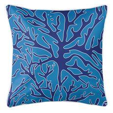 Sea Coral Coastal Pillow - Navy, Light Blue