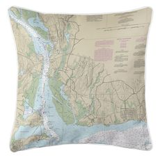 Old Lyme, CT Nautical Chart Pillow